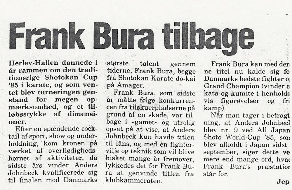 Tilbage i 1984 hvor Frank Bura var urørlig på tronen af Dansk Karate.