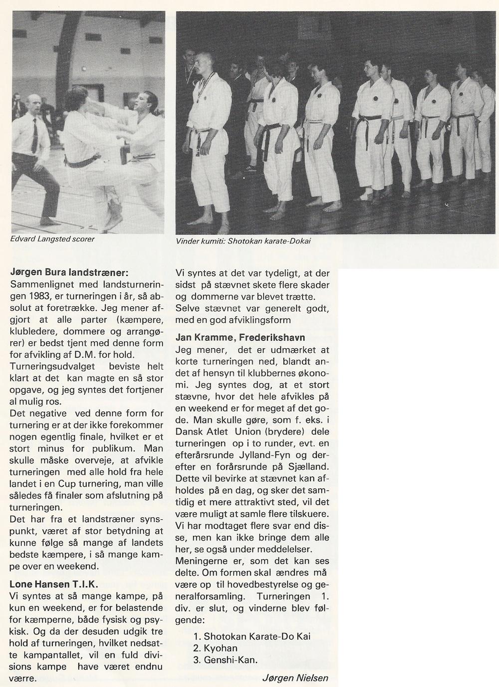 Vinderholdet fra DM 1984 bestående af Frank Bura, Anders Johnsbeck, Edvard Langsted, Jesper Palm Lundorf, Pall Gudjonson, Peter Dudek, Frank Humlegaard,