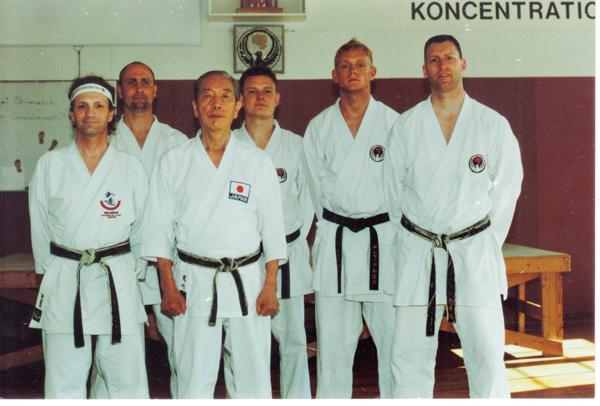 Wadokai Master Seminar d. 14-16/5 - 2005 v. Arakawa Sensei 9. Dan i Gøteborg. Fra højre: Henning Gudmundsen, Thomas Dam, Brian Thomsen, Arakawa sensei, Christoffer Bugtrup, Kim.