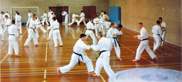 DWK-udtagelses-træning d. 22/9 - 1991 ifm. Wadokai-EM i Brobjergskolen, Århus. Instruktør: Flemming Almtorp (coach).